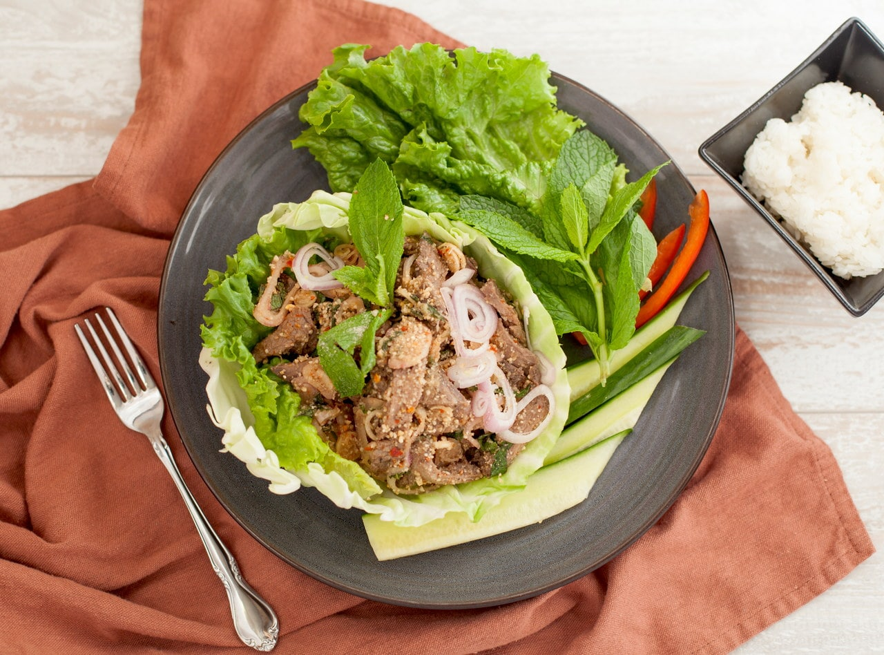 Grilled Beef Nam Tok Salad with Coconut Rice by Chef Tanya Jirapol