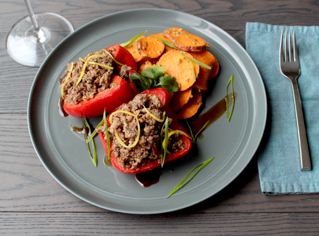 Lamb Sausage Stuffed Bell Peppers by Chefs Stephanie and David