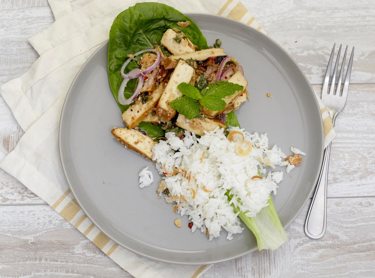 Grilled Tofu Nam Tok Salad with Coconut Rice by Chef Tanya Jirapol