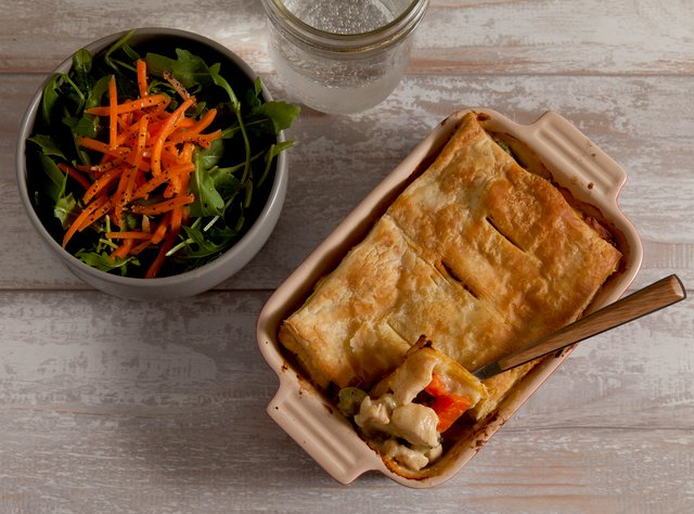 Veggie and Squash Pot Pie with Arugula Salad by Chef Katie Cox