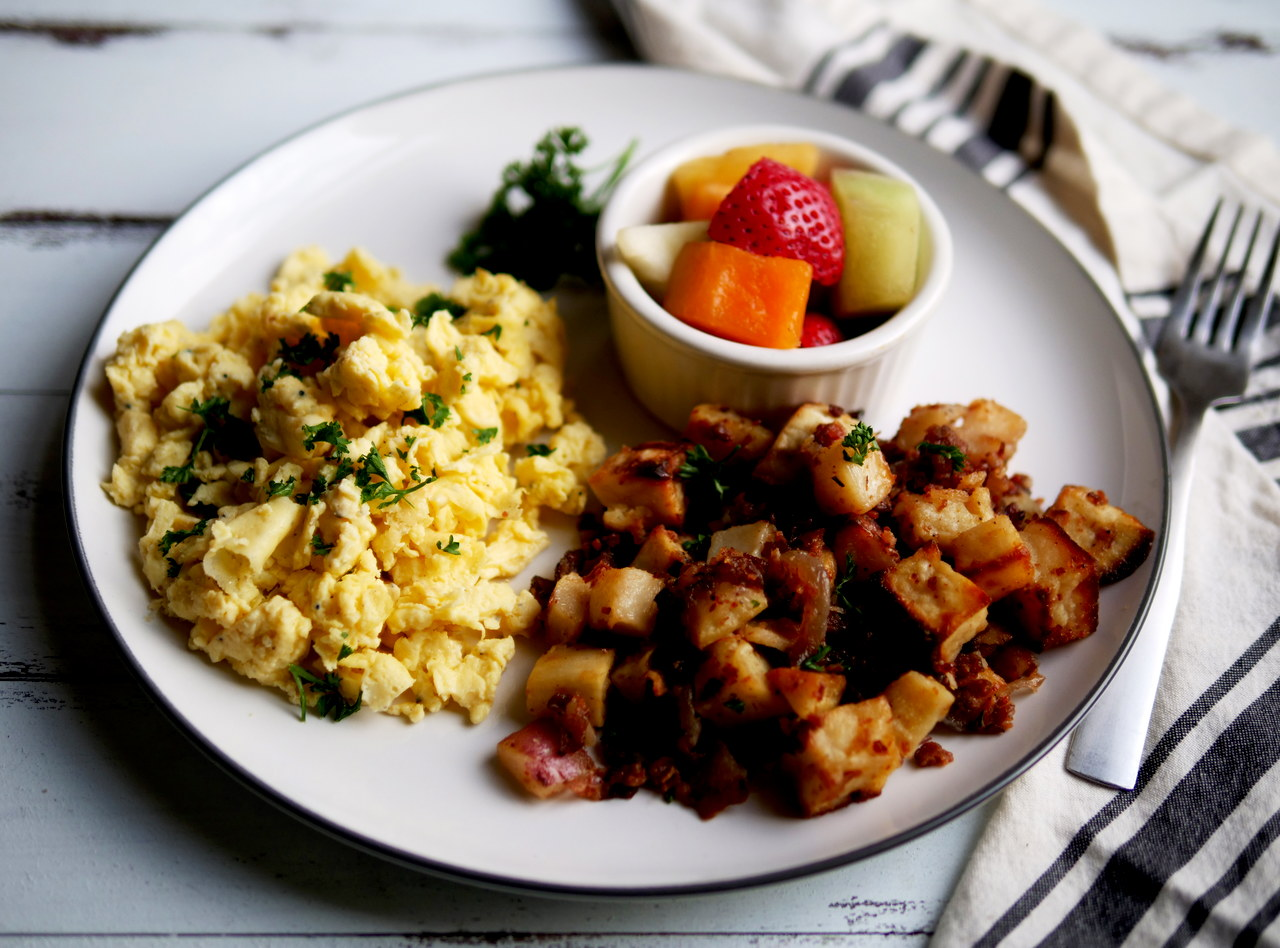Bacon and Maple Sweet & Red Potato Hash Breakfast by Chef Jesse & Ripe Catering Team