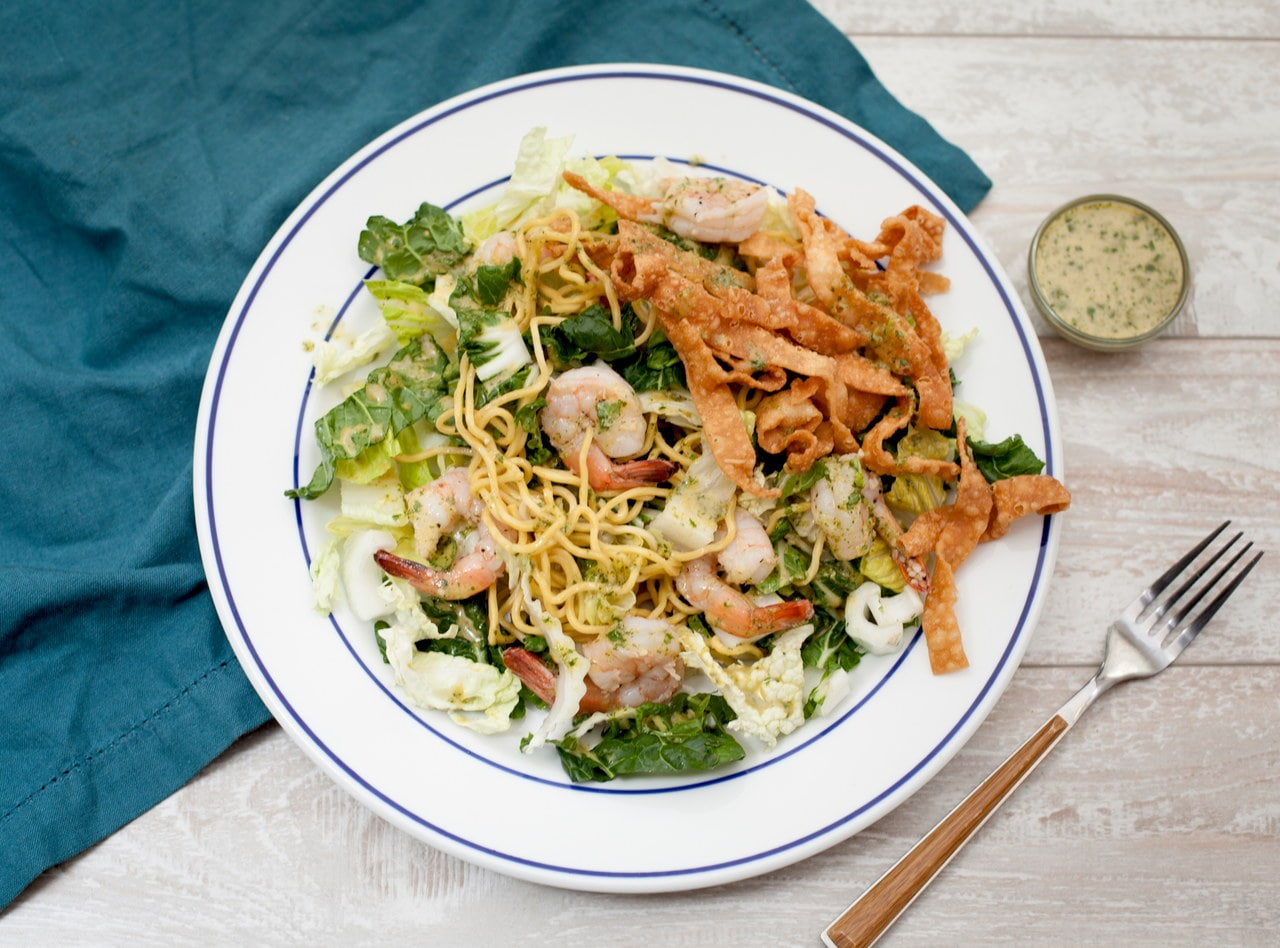Thai Noodle Salad with Shrimp and Crispy Noodles by Chef Tanya Jirapol