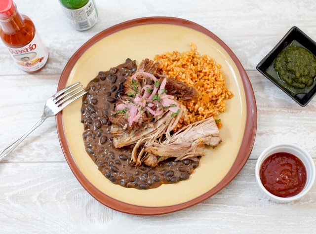 Achiote Pork with Cantina Beans and Brown Rice by Chef Brian Madayag