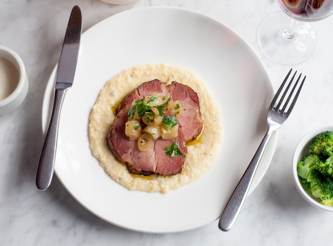 Ham Steak with Polenta by Chef Ron Anderson