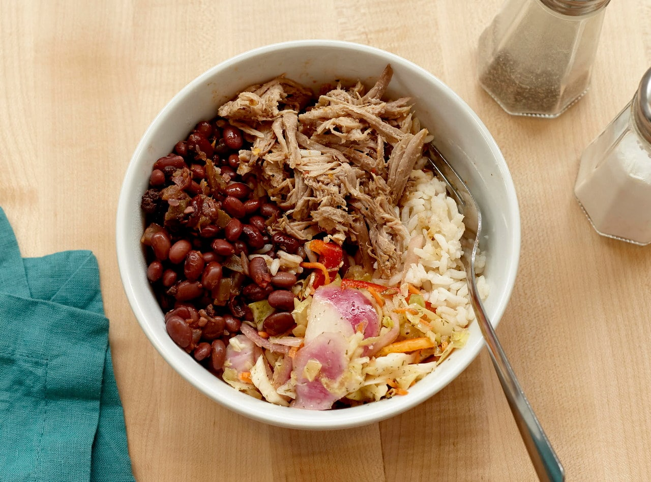 Grab 'n Go Royal Bowl with Pulled Pork by Chef Annie Koski-Karell