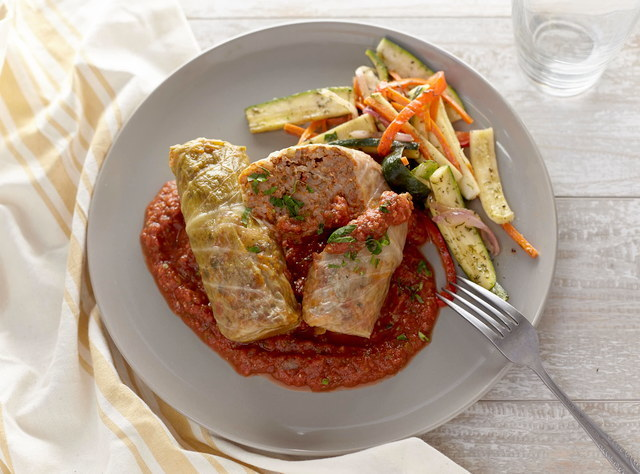 Cabbage Rolls with Smashed Potatoes & Green Beans by Chef Jenn Strange