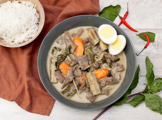 Green Curry Beef with Thai-style Noodles by Chef Tanya Jirapol