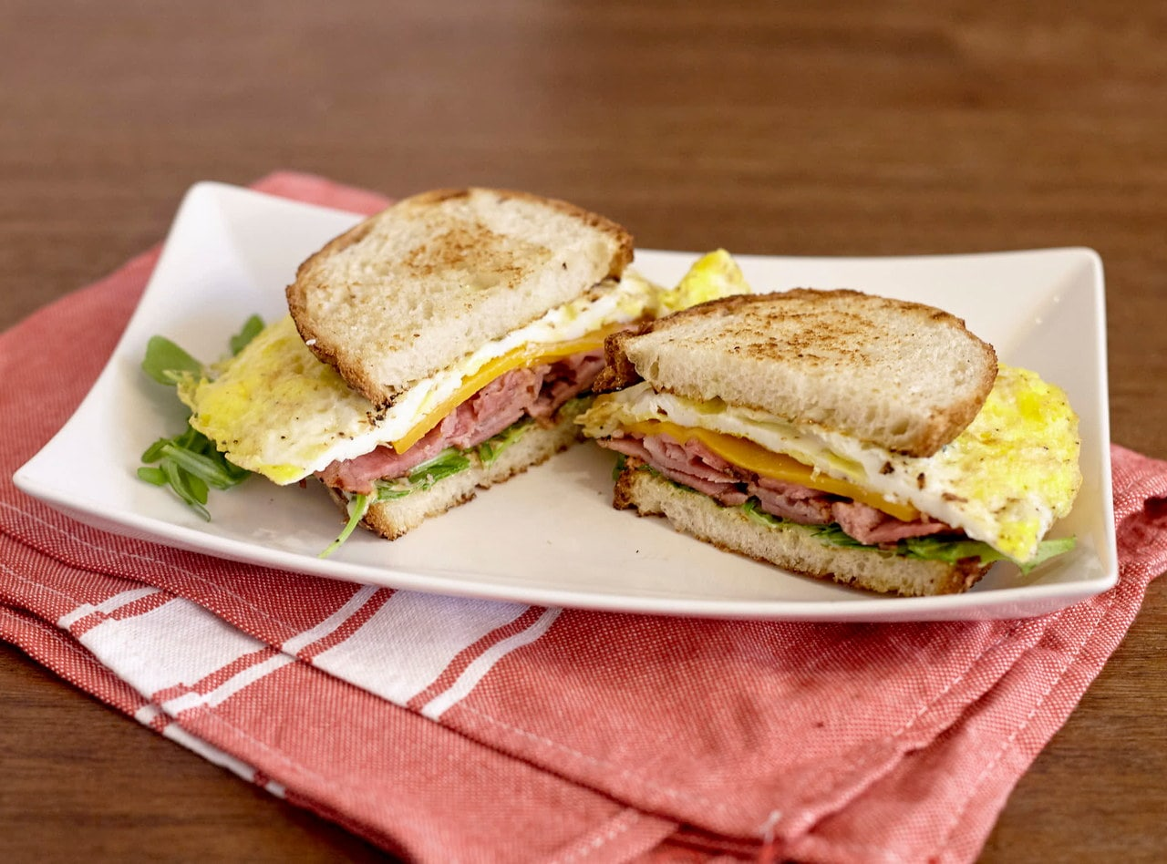 Ham, Cheddar and Egg Breakfast Sandwich by Chef Lilly Gjekmarkaj