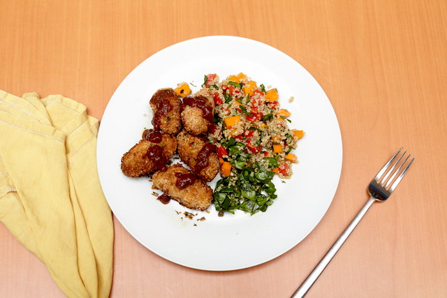White Bean and Squash Fritter with Quinoa Salad by Chef Jeanne Orlowski
