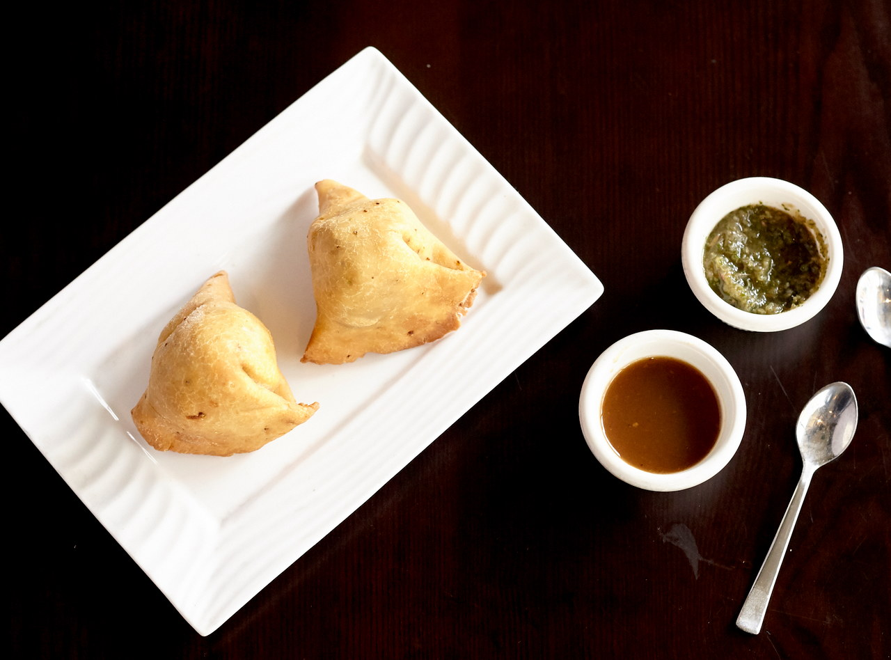 Samosa with Mint and Tamarind Sauces by Chef Nitin Panchal