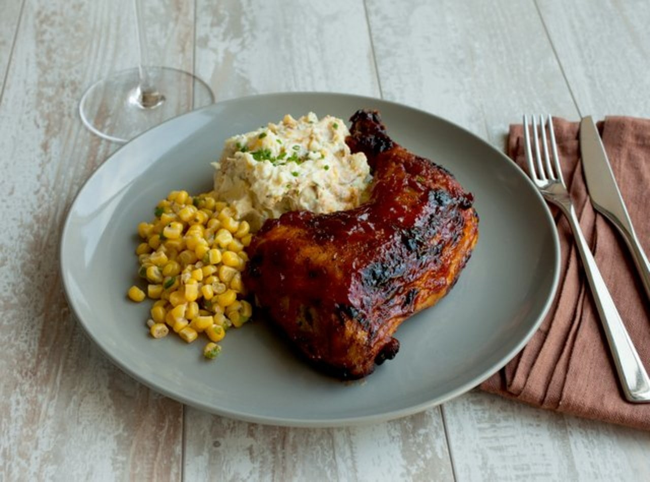 BBQ Chicken with Mashed Potatoes and Corn by Chef Katie Cox