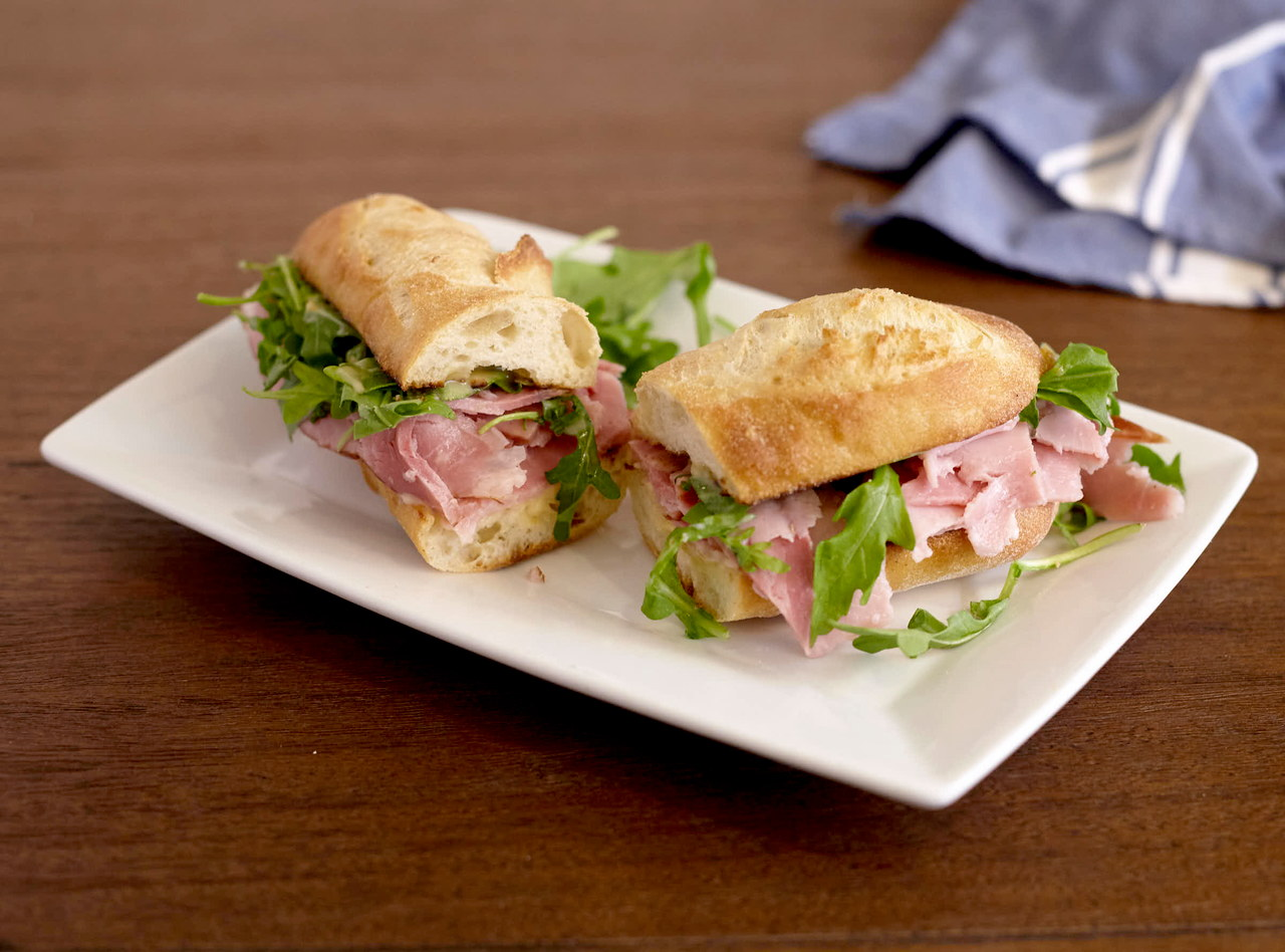 Gluten-Free Honey-Cured Ham Baguette Sandwich with Side Salad by Chef Lilly Gjekmarkaj