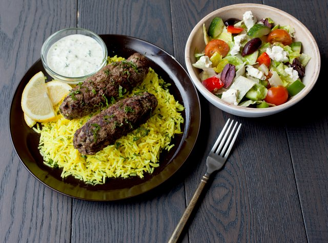 Kafta Kebabs, Yellow Rice and Greek Salad by Chef Guru Sigdel