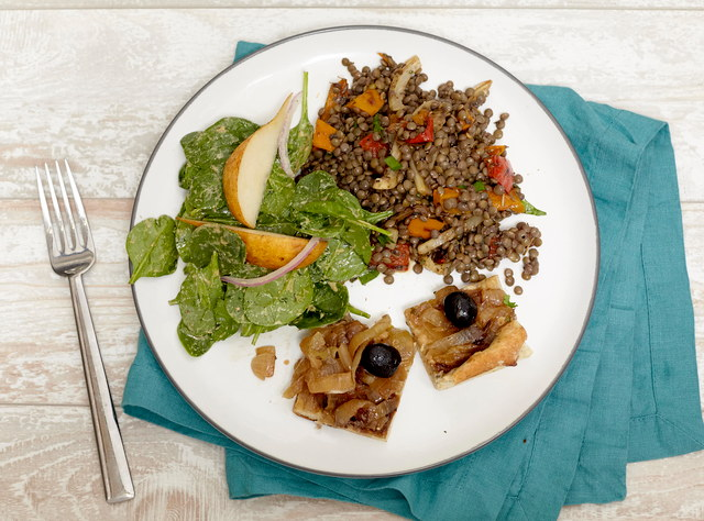 French Lentils & Vegetables with Spinach Salad by Chef Christophe