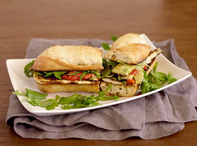 Chicken Pesto Baguette Sandwich with Side Salad by Chef Lilly Gjekmarkaj