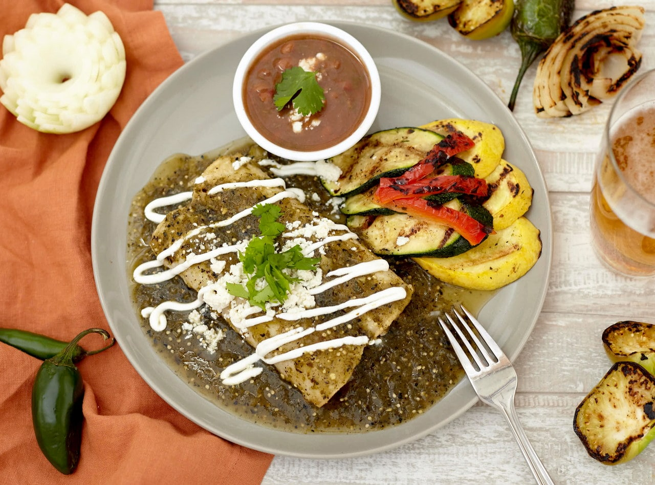 Roasted Tomatillo Pork Enchiladas Bar by Chefs Frankie & Edgar