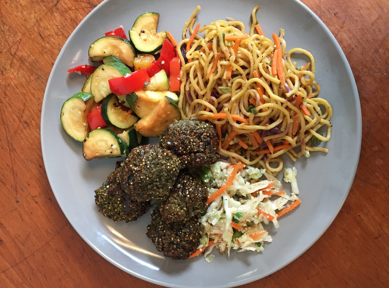 Vegan Ginger Soy Meatballs with Chow Mein by Chef John Tran - SMC