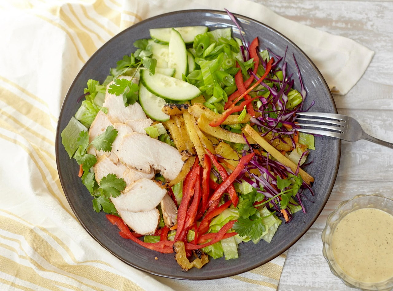 Grilled Pineapple and Chicken Salad Bar by Chef Jenn Strange
