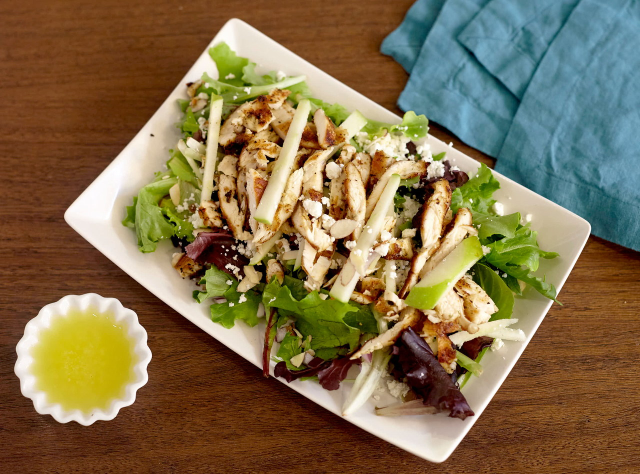 Chicken, Apple and Goat Cheese Salad with Apple Vinaigrette by Chef Lilly Gjekmarkaj