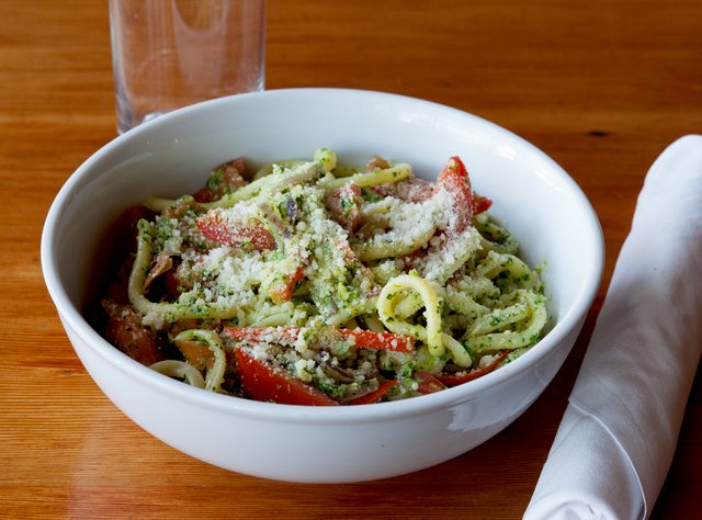 Bucatini with Rapini Pesto by Chef Ethan Stowell